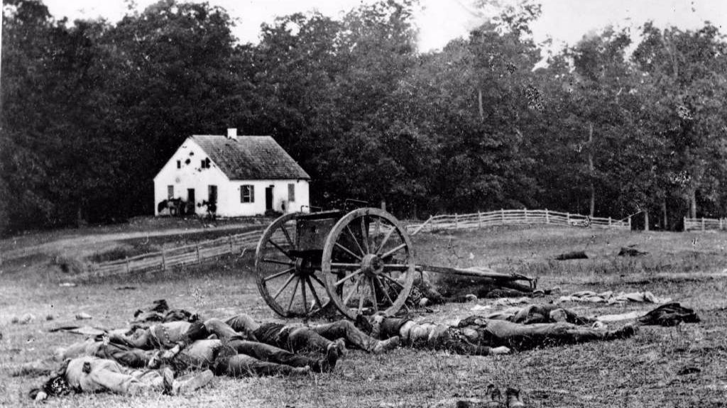 The carnage of the Battle of Antietam, the bloodiest one-day battle of the Civil War, near Sharpsburg, Md., was captured in this Sept. 17, 1862, photograph.