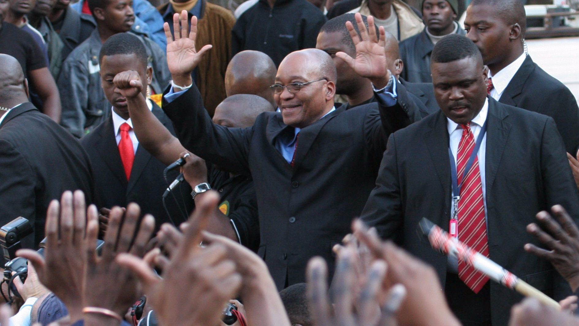 Supporters cheer Jacob Zuma after his acquittal on rape charges in 2006, clearing the way for him to become party president.