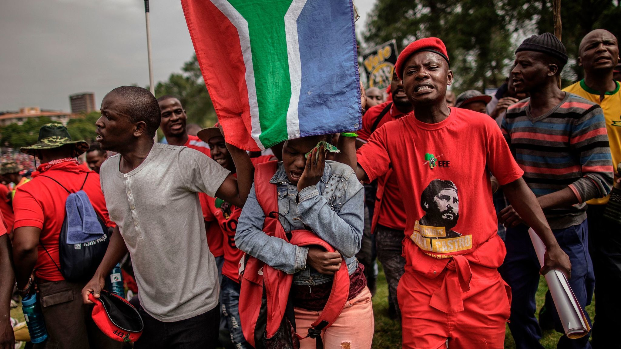 Members of the opposition Economic Freedom Fighters party at a protest calling for the resignation of President Jacob Zuma last month.