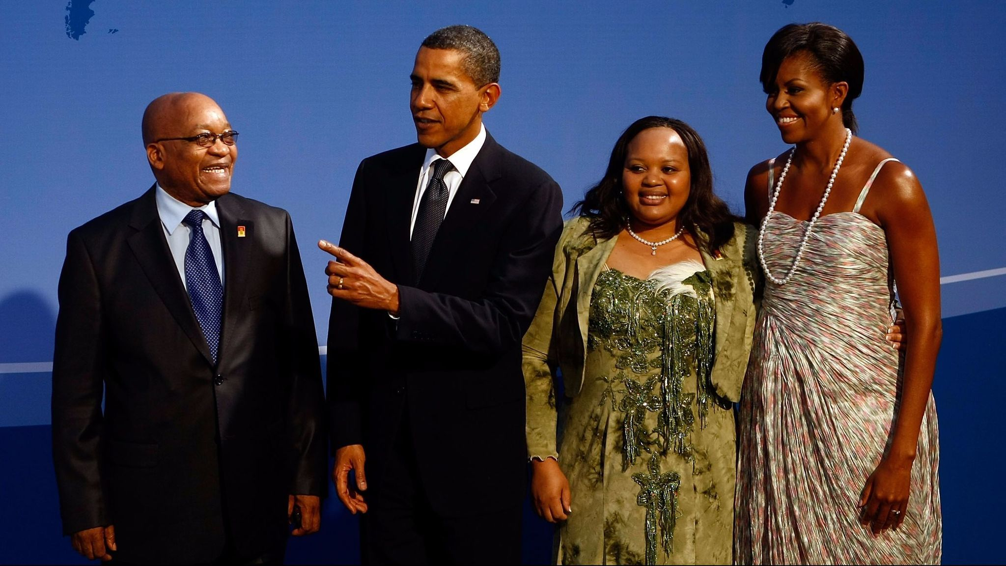 President Obama and former First Lady Michelle Obama, with South African President Jacob Zuma and Nompumelelo Ntuli-Zuma, one of his wives, at the G-20 summit in Pittsburgh in 2009. After he fell ill in 2014, Zuma accused his wife of taking part in a plot to poison him.