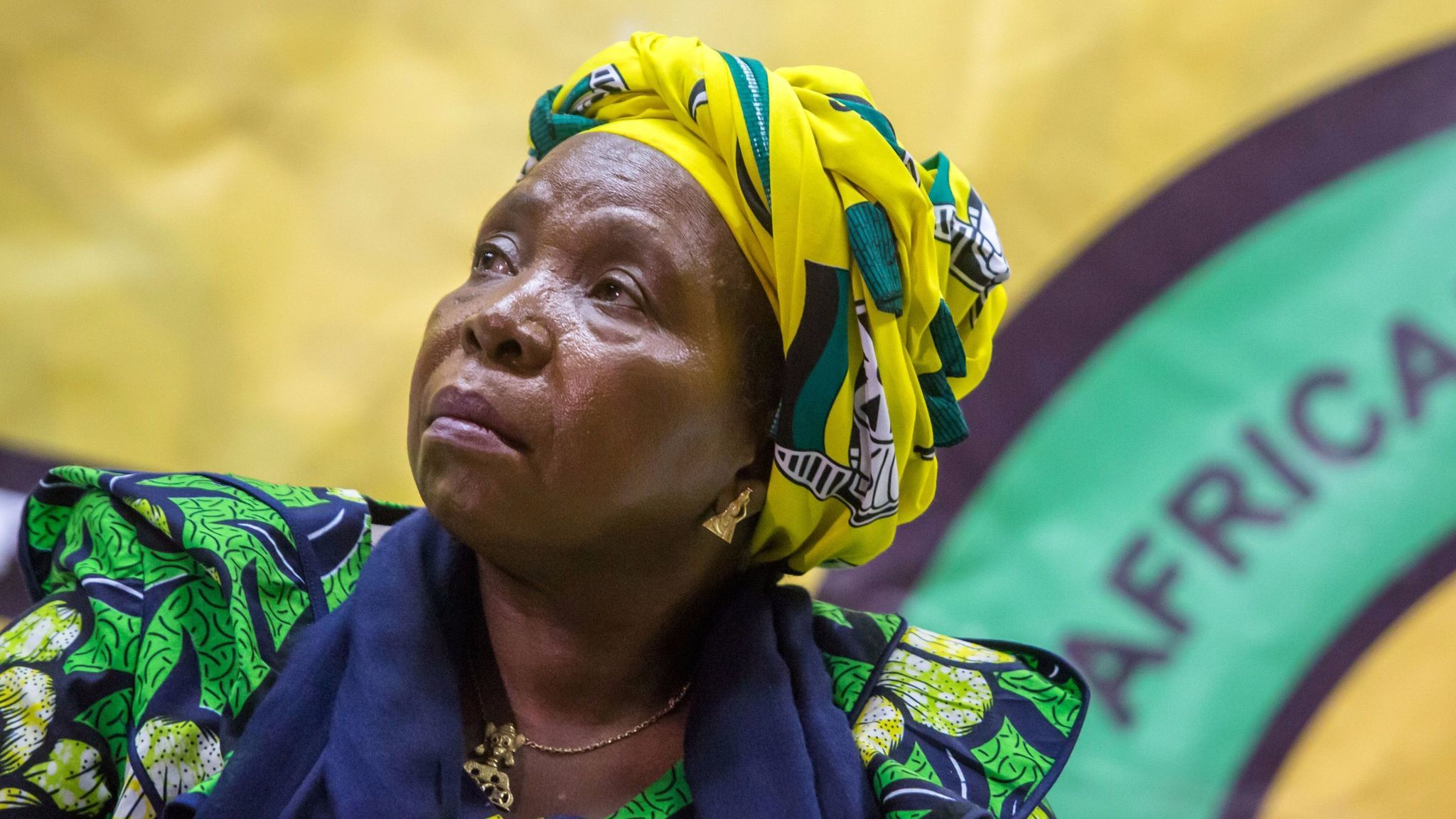 South African presidential contender and former chairwoman of the African Union Commission Nkosazana Dlamini-Zuma at a meeting of the African National Congress Youth League last month. Zuma's critics fear that if elected she would try to shield him from prosecution.