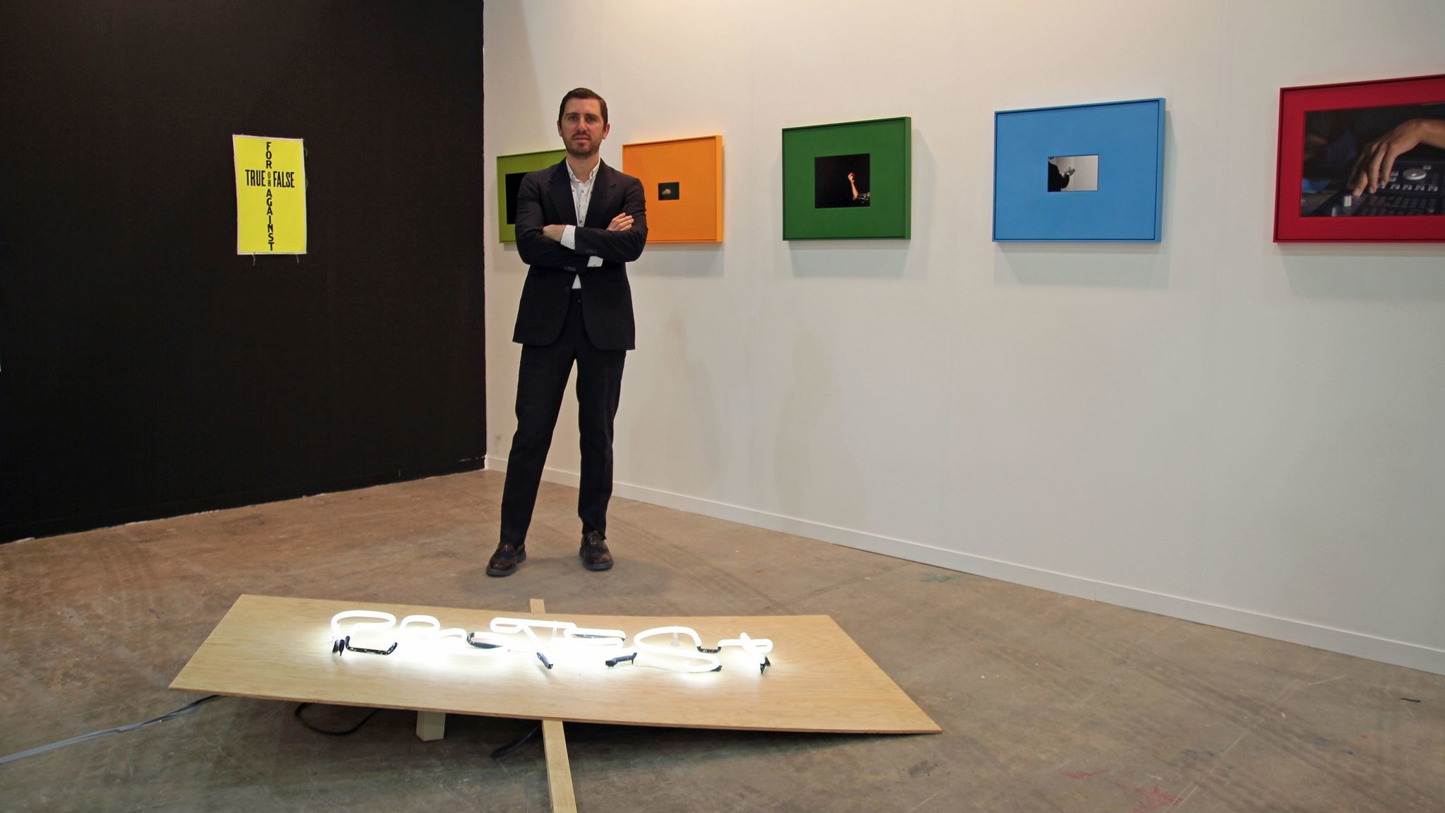 Mauricio Cadena, director of Parque Galería, a Mexico City exhibition space, at Zona Maco.
