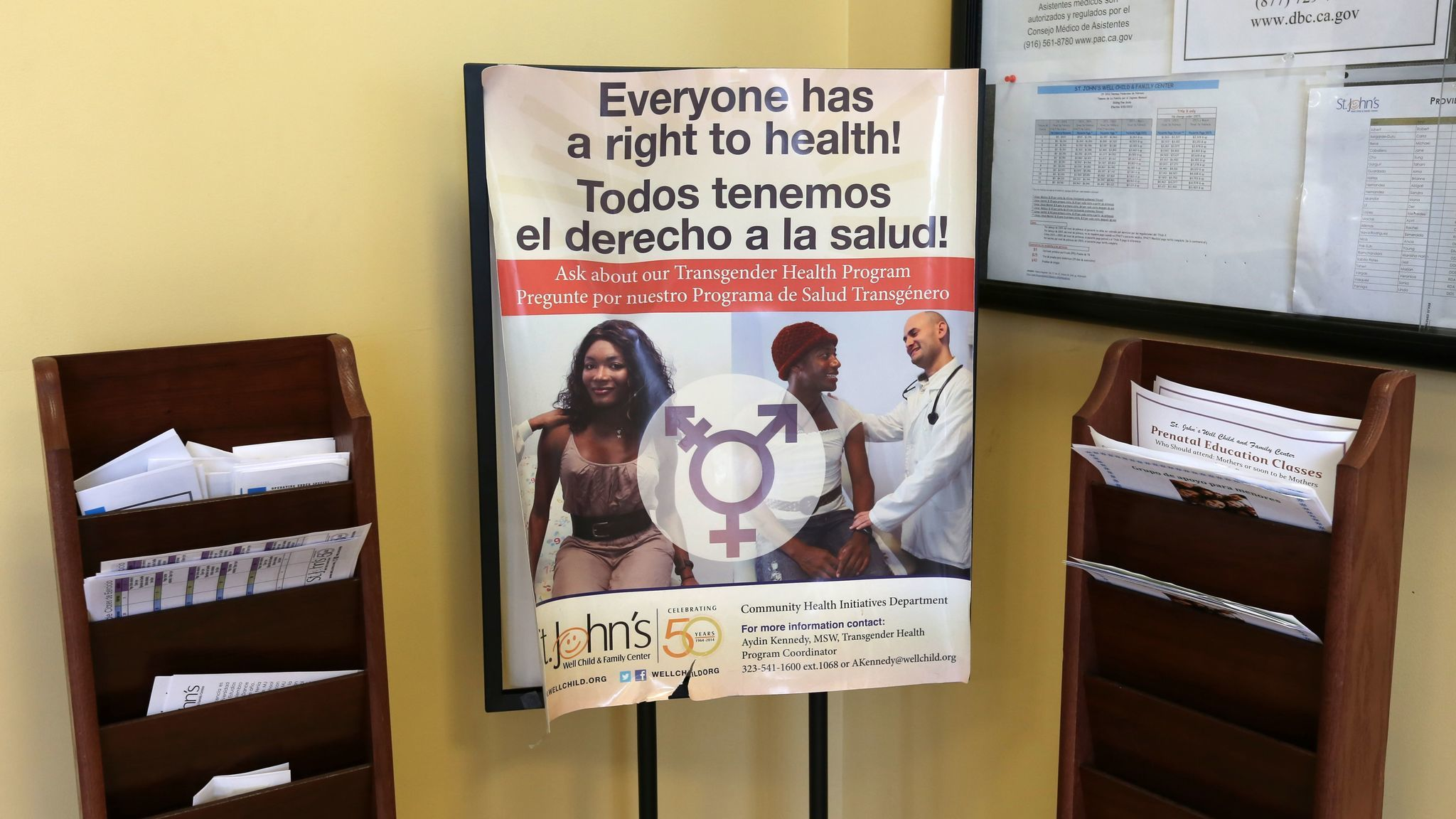 A poster advertises a transgender health program at St. John's in South L.A. The clinic provides culturally appropriate services to the local transgender community, whose members often can't afford the expensive medical care they require.