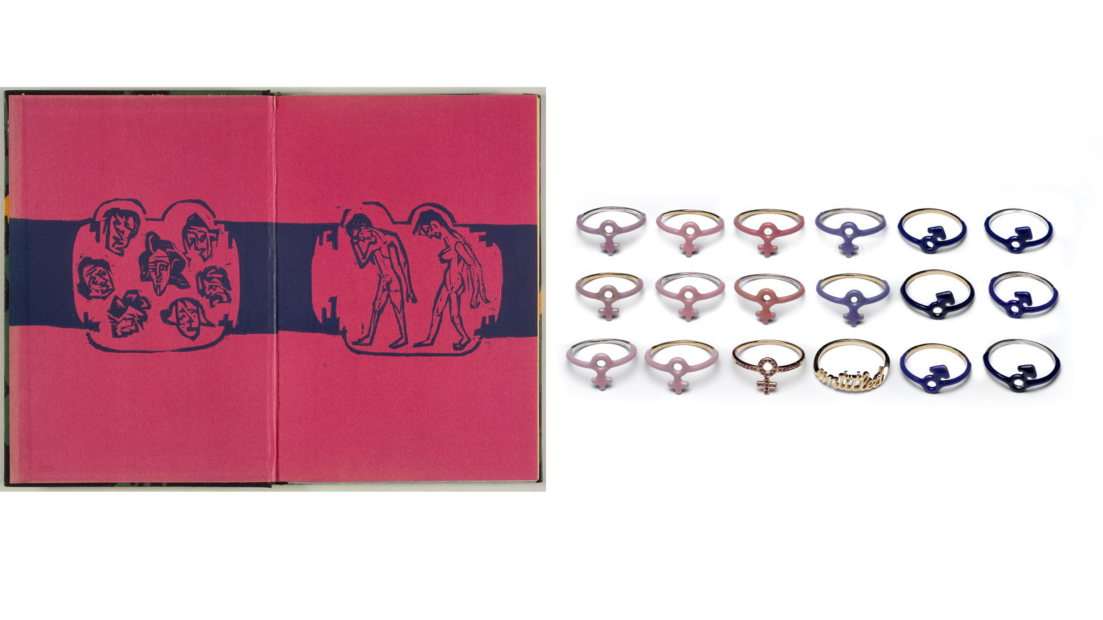 A woodblock print by Ernst Ludwig Kirchner, left, was one of the two works by the German Expressionist that inspired Lena Wald's suite of jewelry, right.