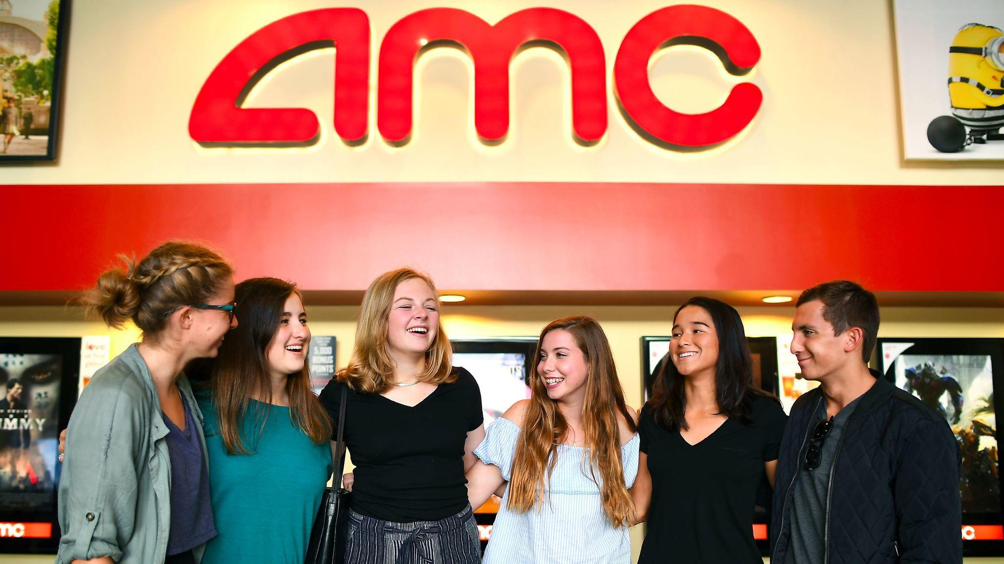 Morgan Gerlach, left, Lana Biren, Zoe Parcells, Natalie Gold, Audrey Hattori and Max Dodd gather at the AMC Santa Monica 7,