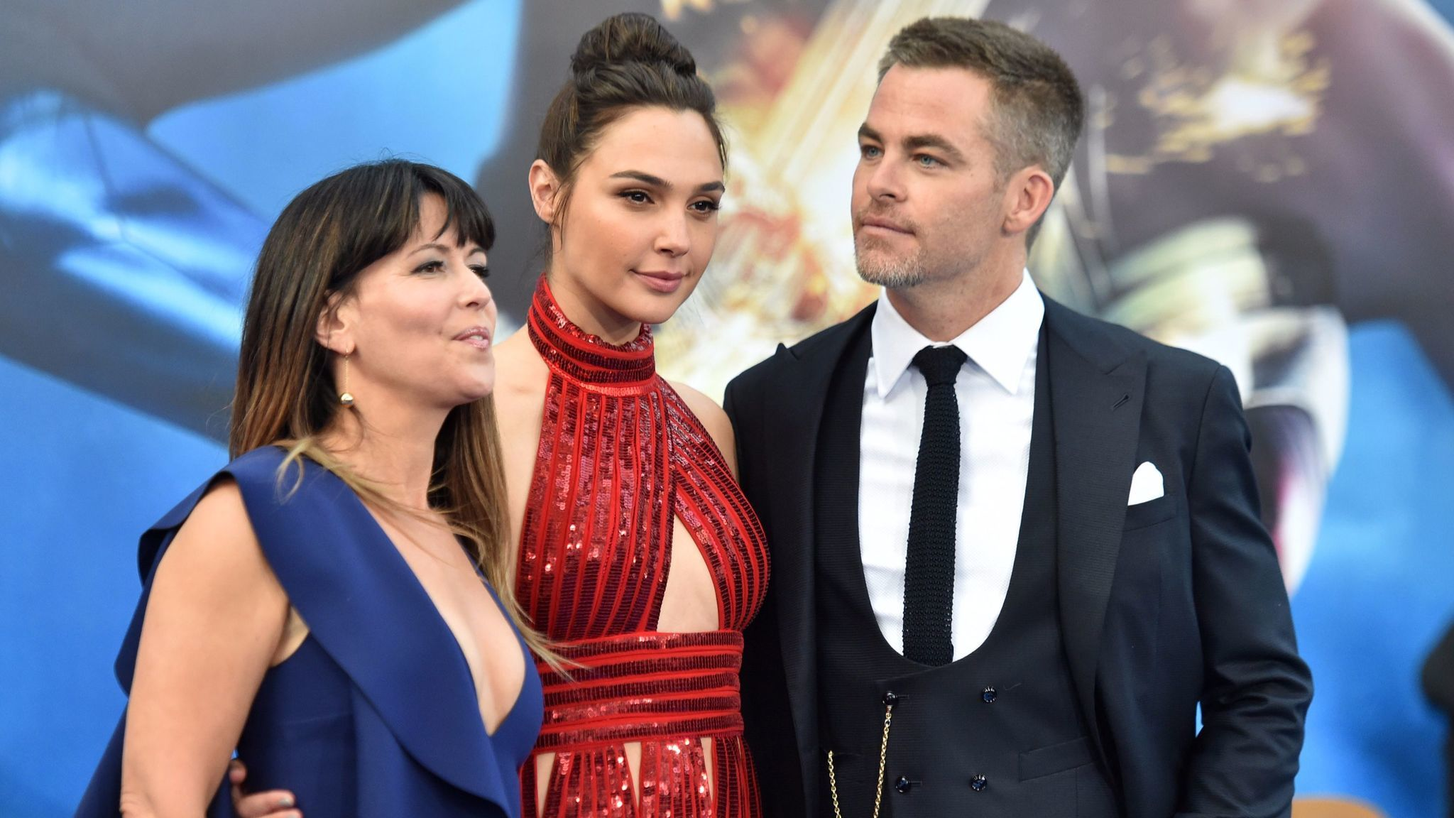 """Wonder Woman"" director Patty Jenkins, left, with stars Gal Gadot and Chris Pine."