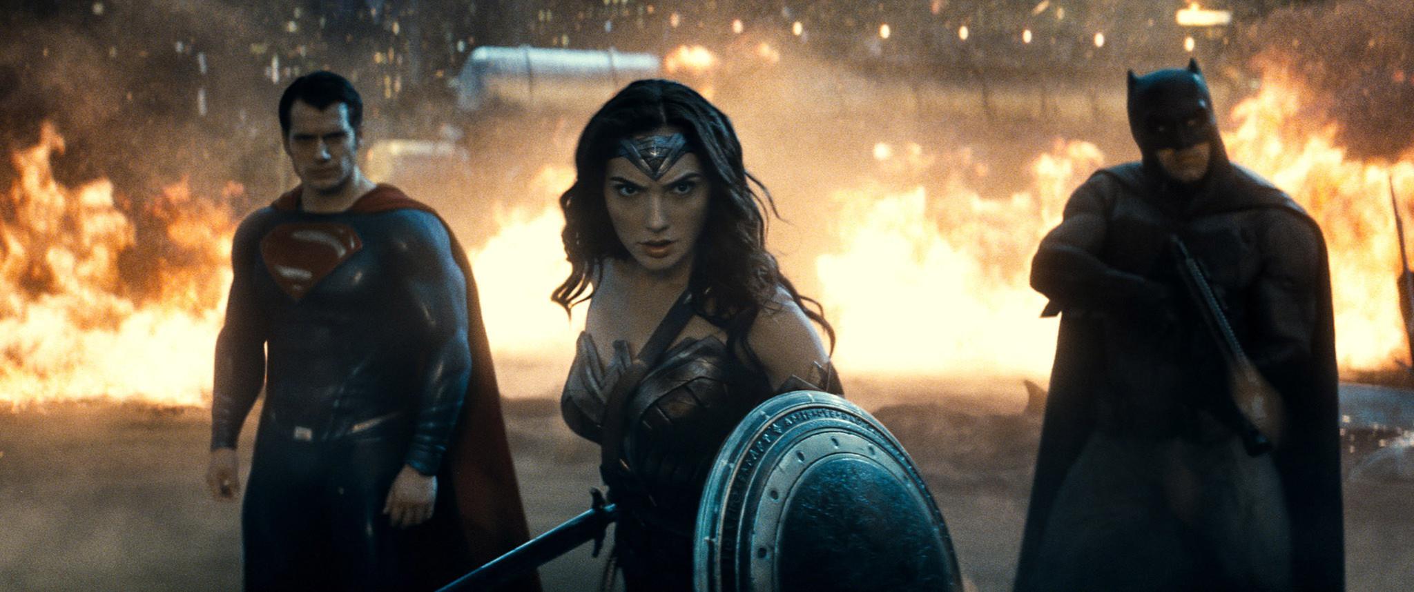 "Henry Cavill, left, Gal Gadot and Ben Affleck in ""Batman v Superman: Dawn of Justice."""