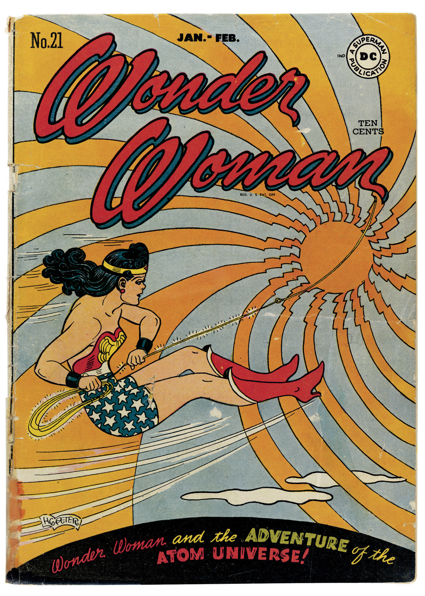 """The cover of """"Wonder Woman"""" No. 21 (Jan. - Feb. 1947) by H. G. Peter."""