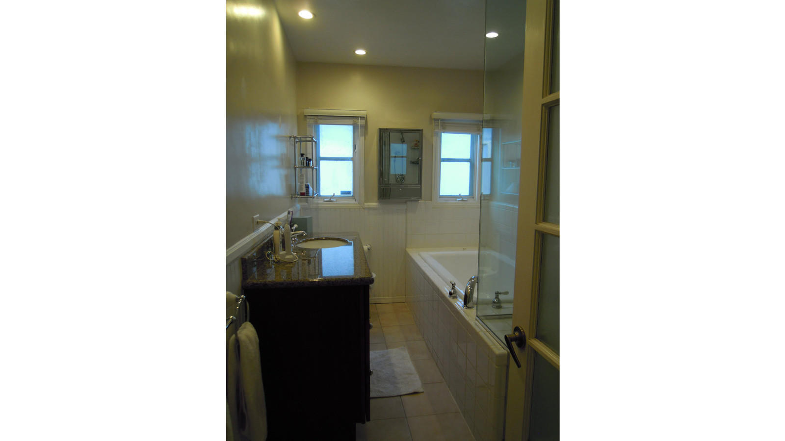 Before picture of the bathroom of the home of Patrick Wildnauer and husband Tom Balamaci.