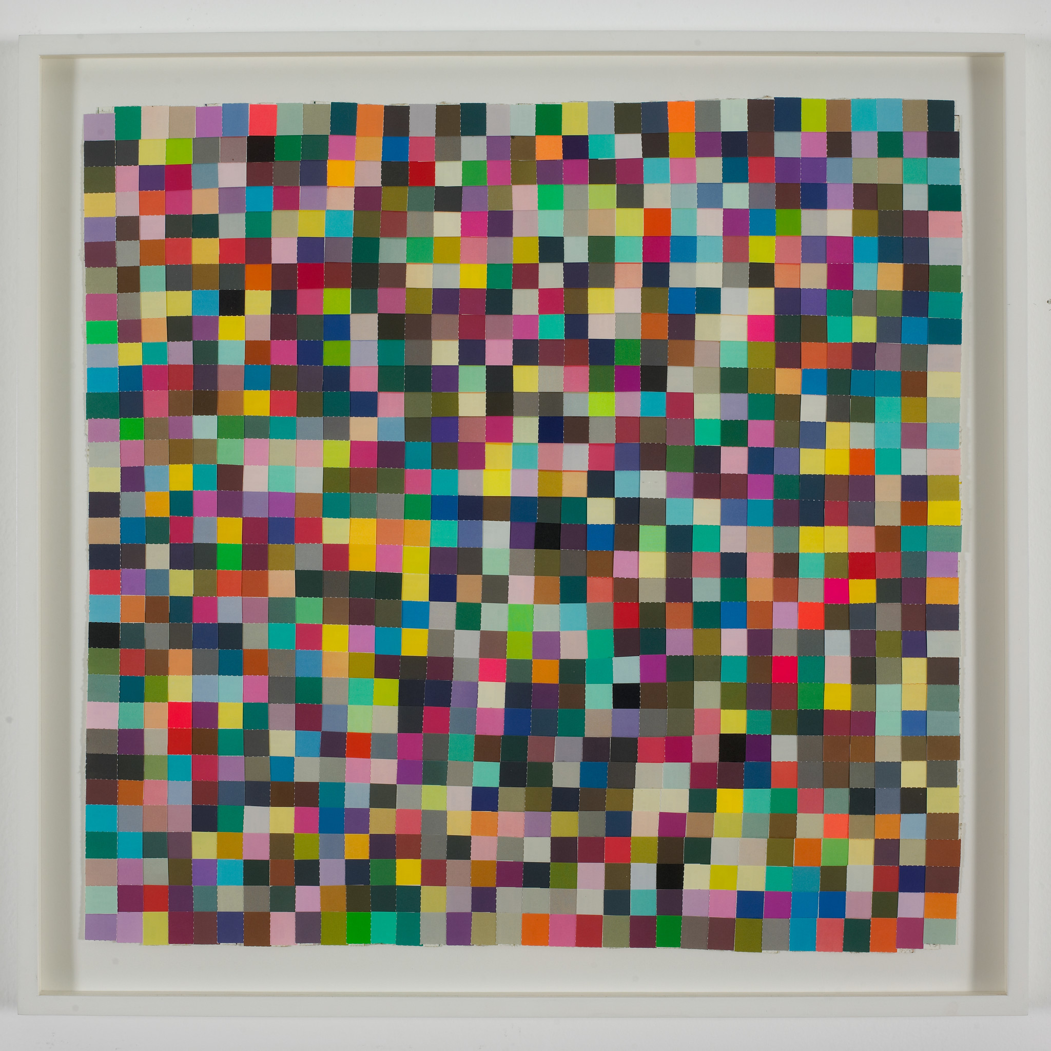 """On Earth — Every Color (1000 Plus),"" 1998, by Jim Hodges — a piece that evokes the texture of weaving."