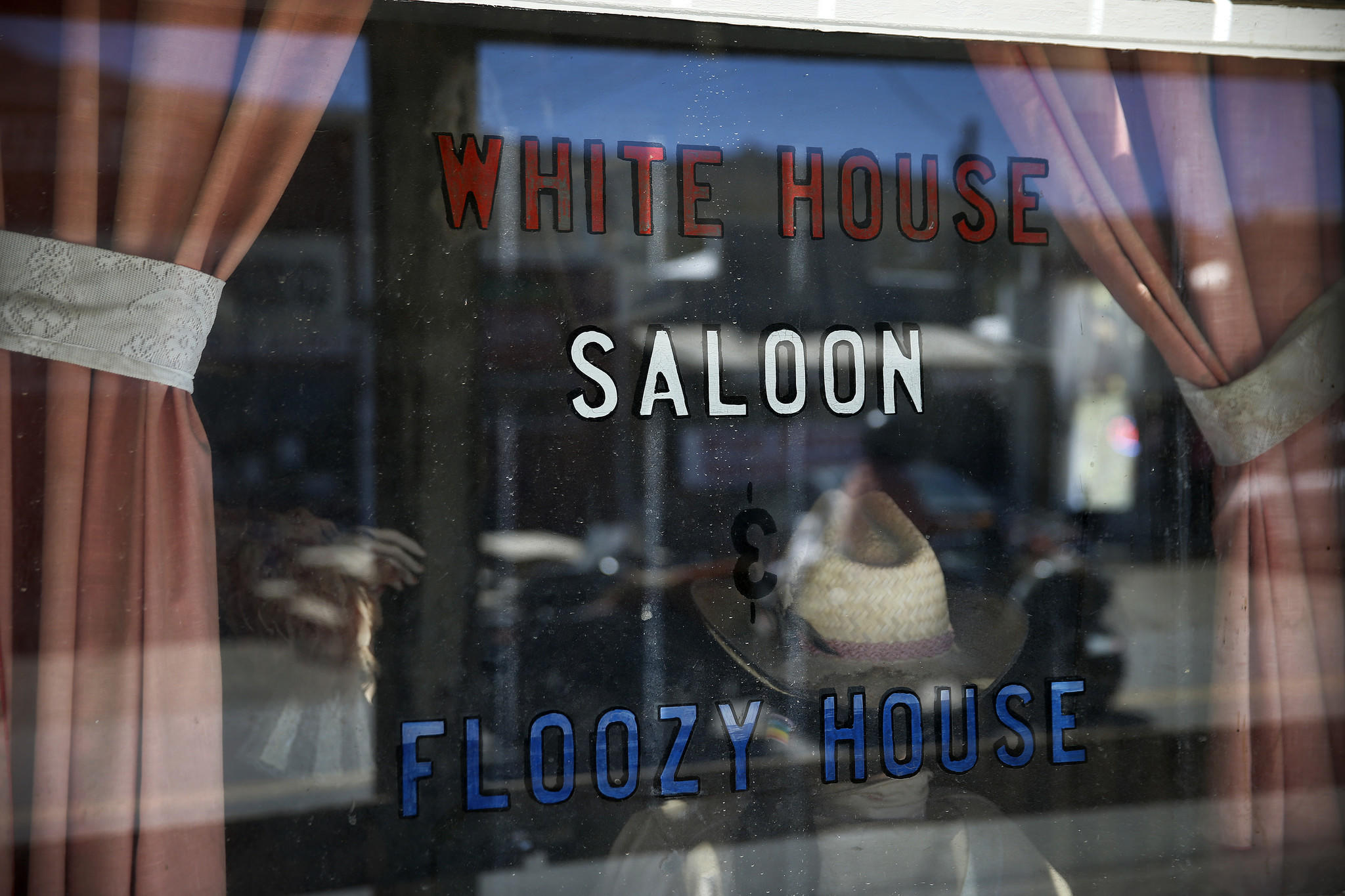 A view of the window display at the White House Saloon in downtown Randsburg.