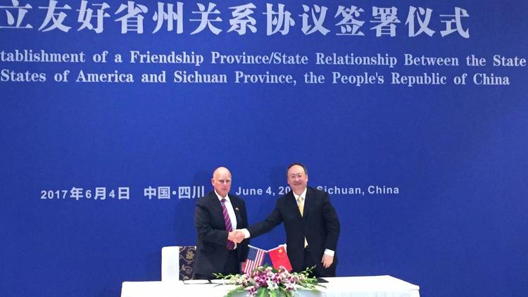 Gov. Jerry Brown meets with Sichuan Gov. Yin Li as he seeks to build allies for climate change colla