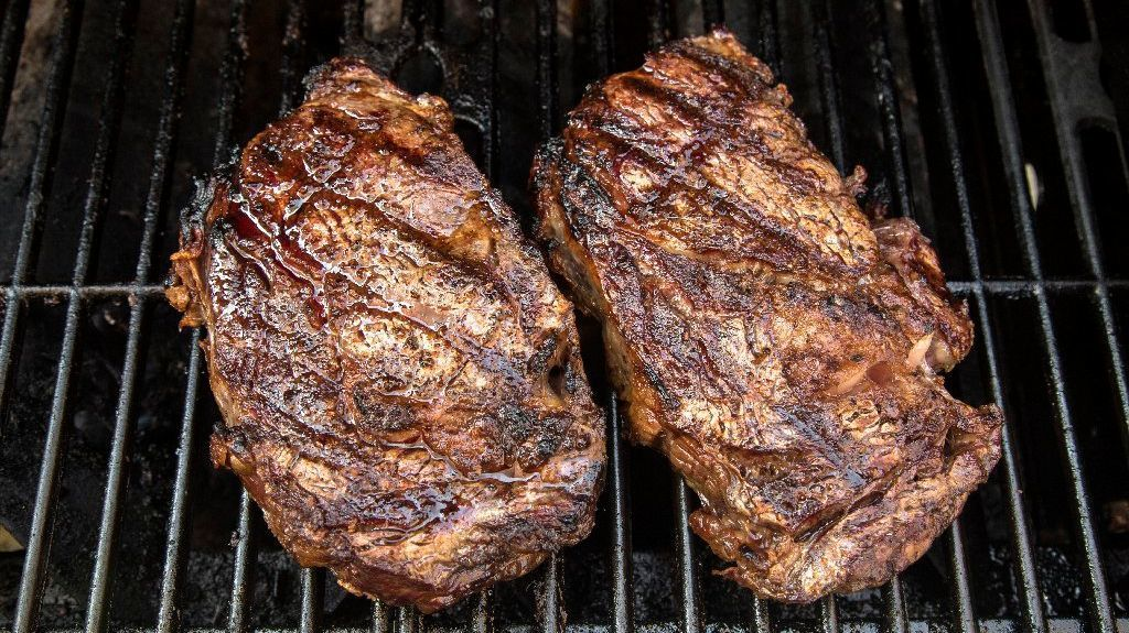 Perfect grilled steak. Simply brush the steaks with a little mayonnaise, and season with Maldon salt and freshly ground black pepper.