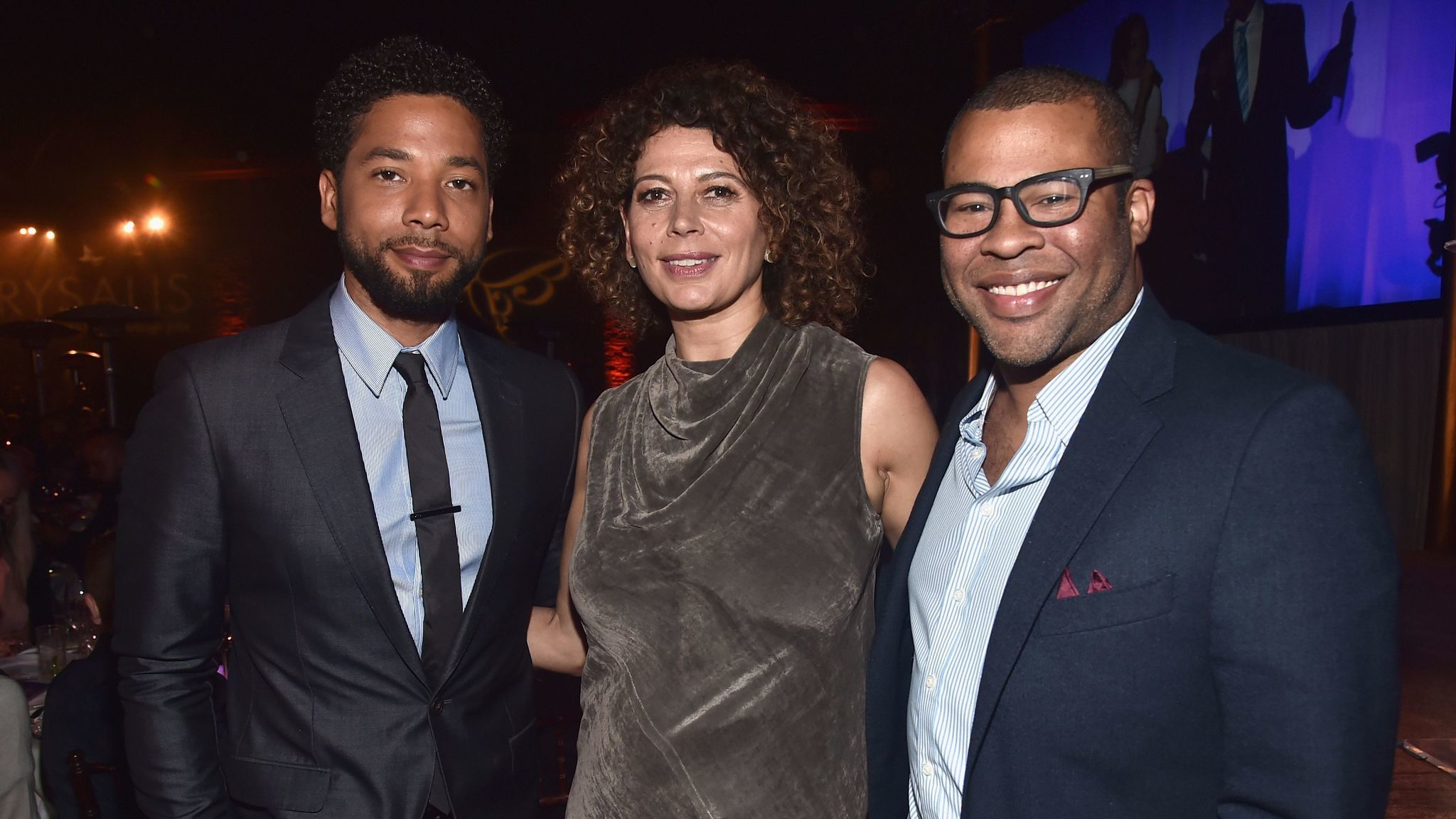 Emcee Jussie Smollett, from left, Chrysalis Butterfly Ball co-chairwoman Donna Langley and actor-writer-director Jordan Peele.