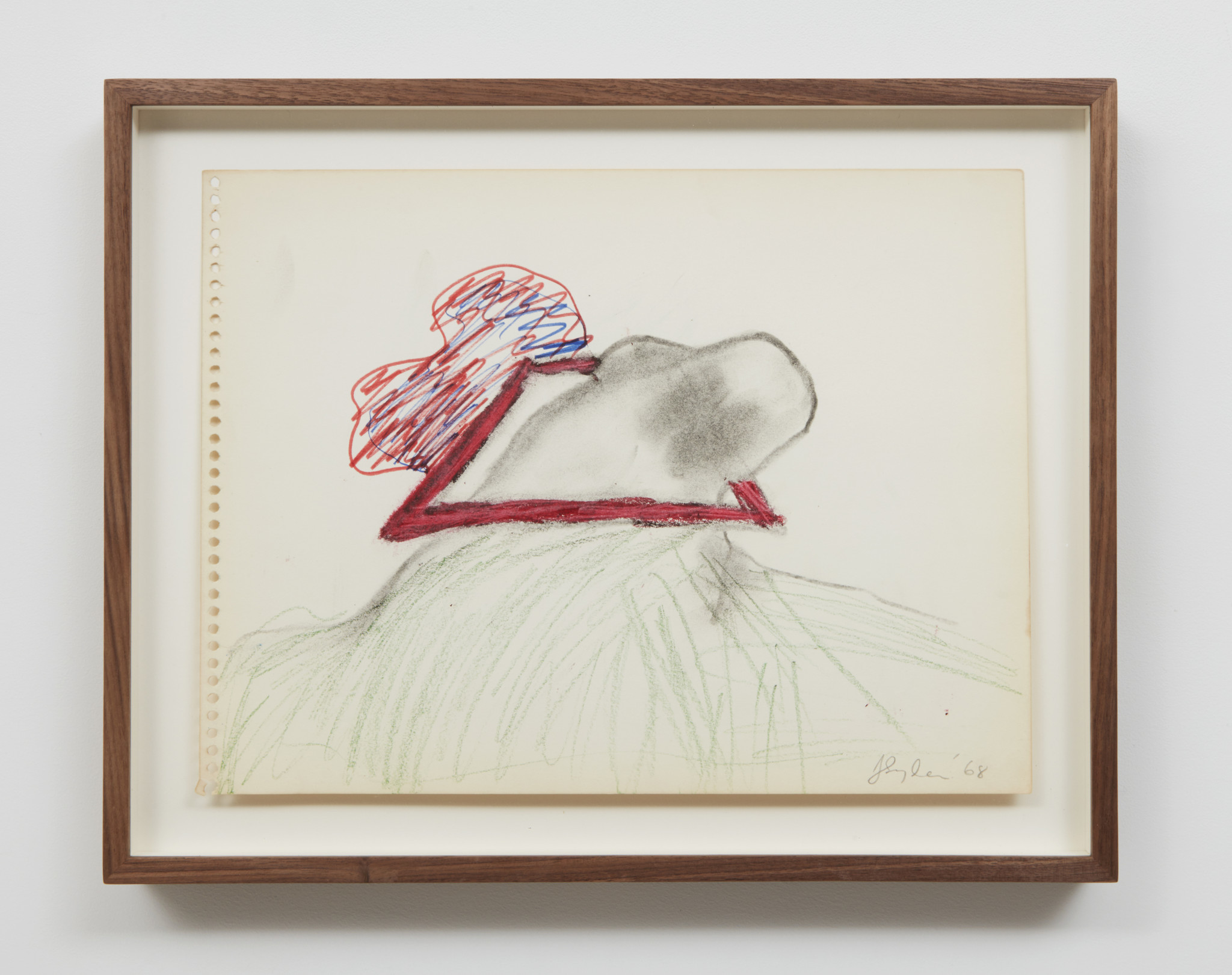 "Joan Snyder, ""Red Rectangle/Grabbing,"" 1968, charcoal, marker and crayon on paper, 11.5 inches by 14.5 inches."