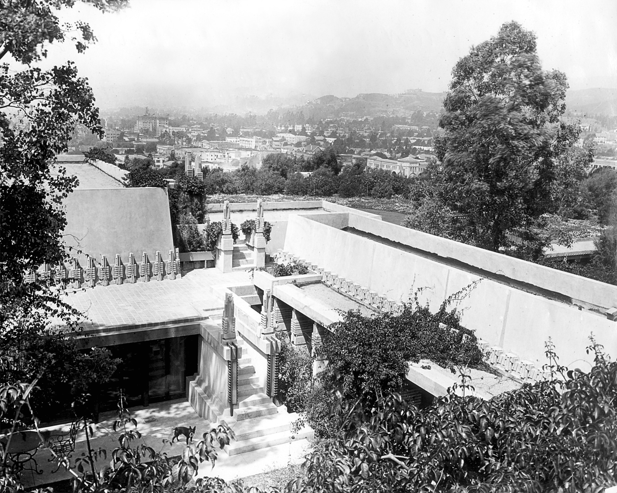 Hollyhock House, pictured from an upper terrace of the Barnsdall property in 1927.