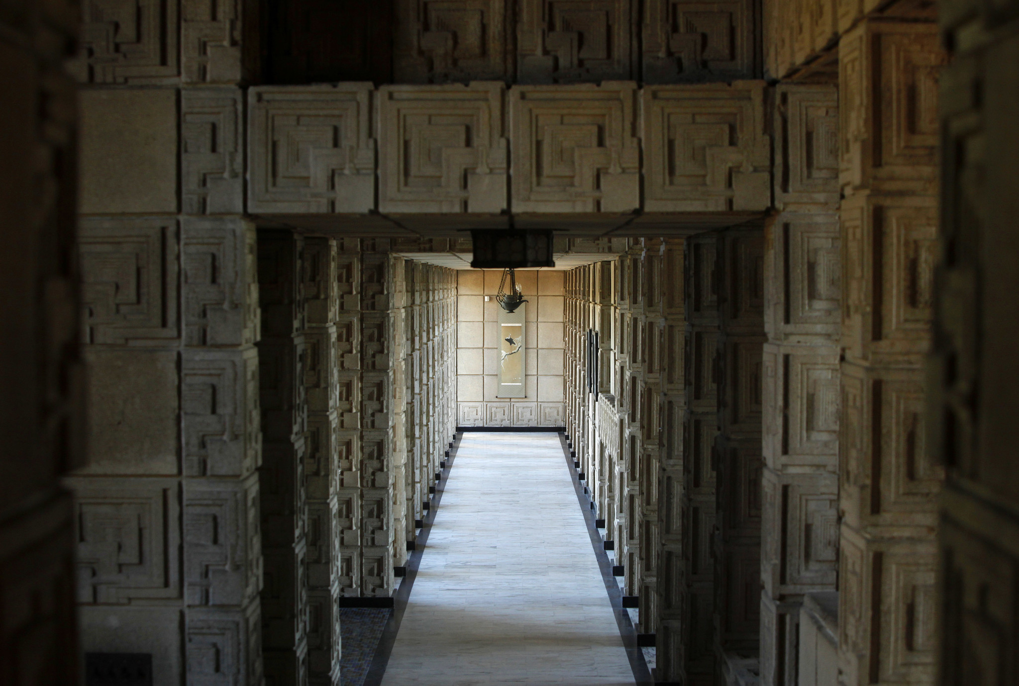 Inside Ennis House in the Los Feliz neighborhood of Los Angeles.