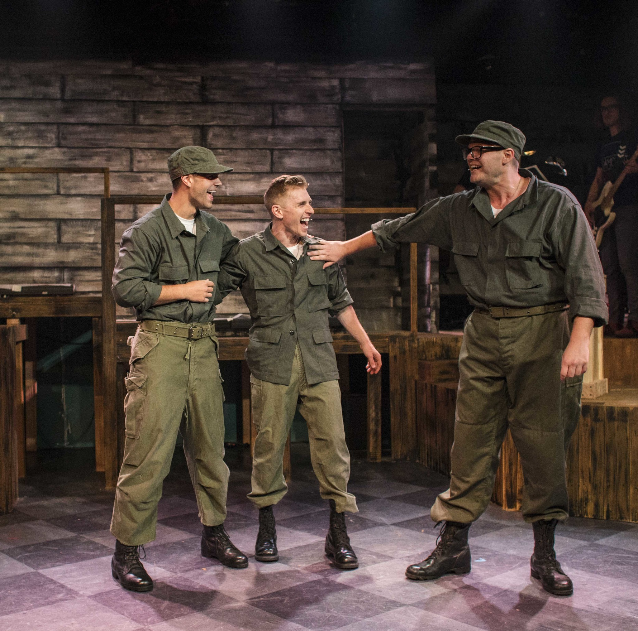 """Spencer Strong Smith, left, Payson Lewis and Trent Mills in """"Dogfight."""""""