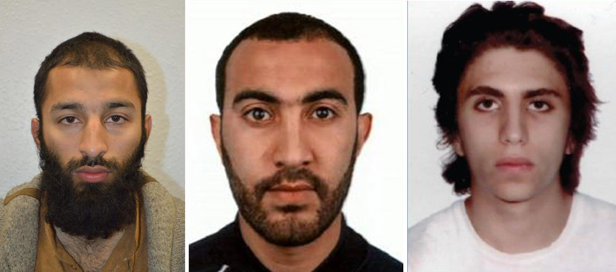 Authorities say Khuram Shazad Butt, from left, Rachid Redouane and Youssef Zaghba were the men shot dead by police following a terrorist attack that began on London Bridge.