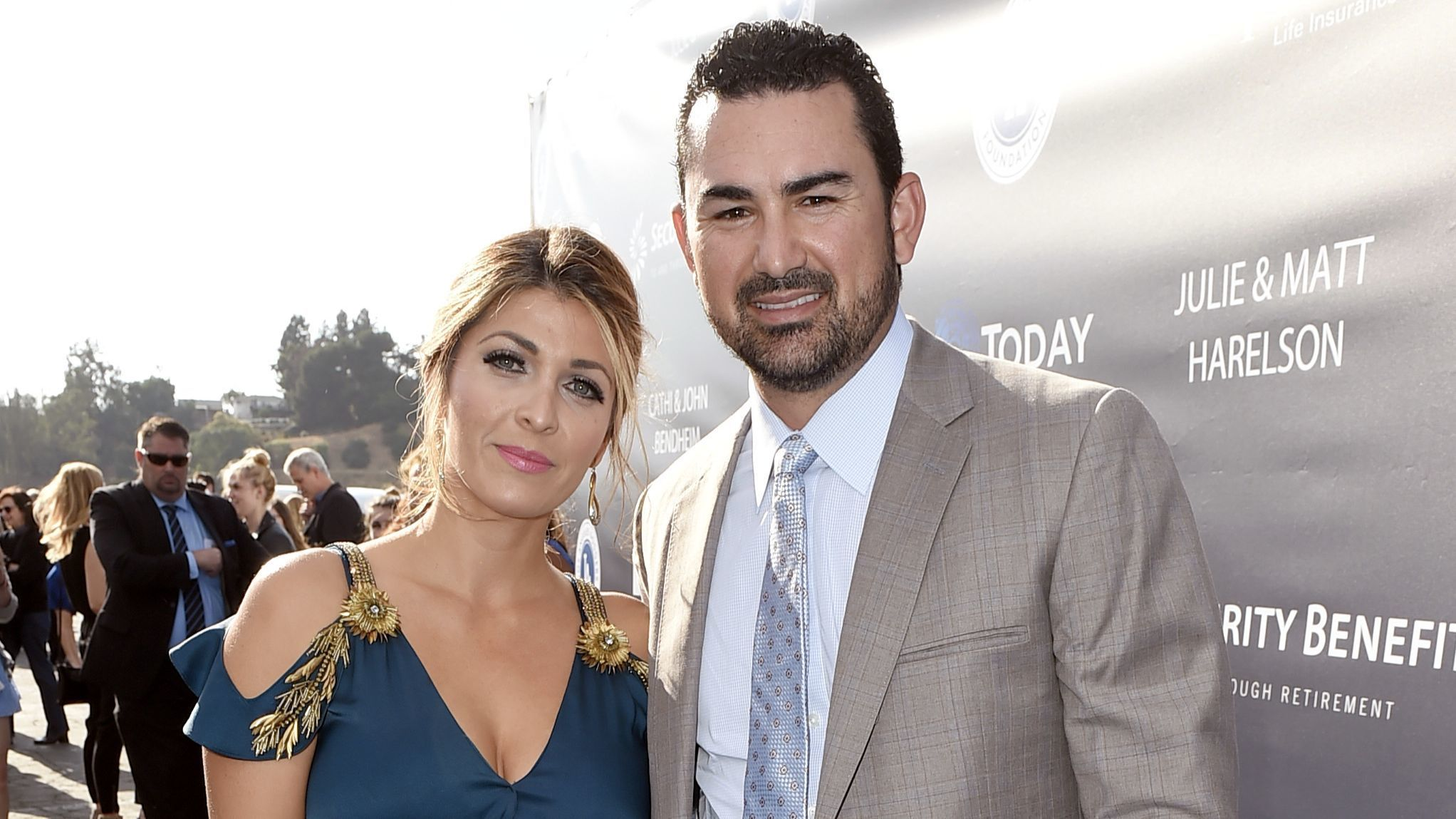Betsy Gonzalez, left, and Dodgers first baseman Adrian Gonzalez arrive at the Los Angeles Dodgers Foundation Blue Diamond Gala 2017.