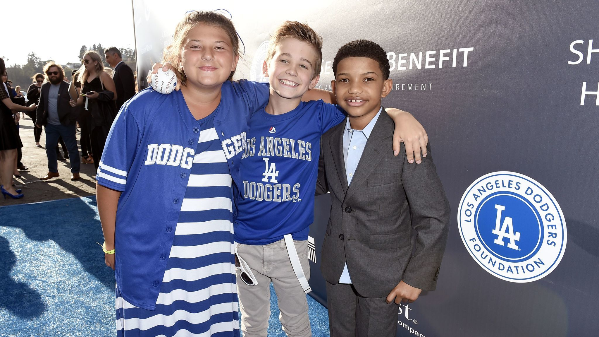 Mackenzie Hancsicsak, left, Parker Bates and Lonnie Chavis arrive at the Los Angeles Dodgers Foundation Blue Diamond Gala 2017 at Dodgers Stadium on Thursday in Los Angeles.