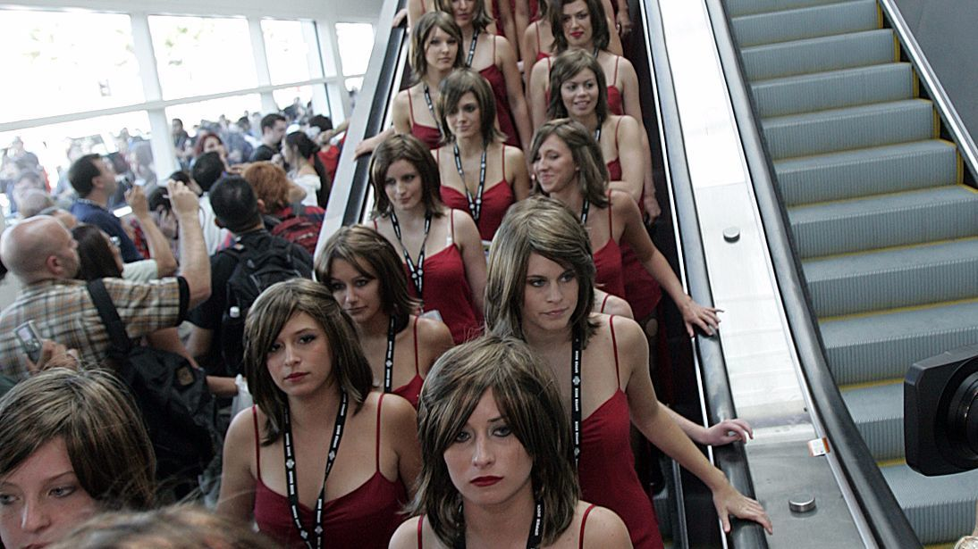 "100 Milla Jovovich look–alikes arrive before the Comic-Con panel discussion for the film ""Resident Evil: Extinction."""