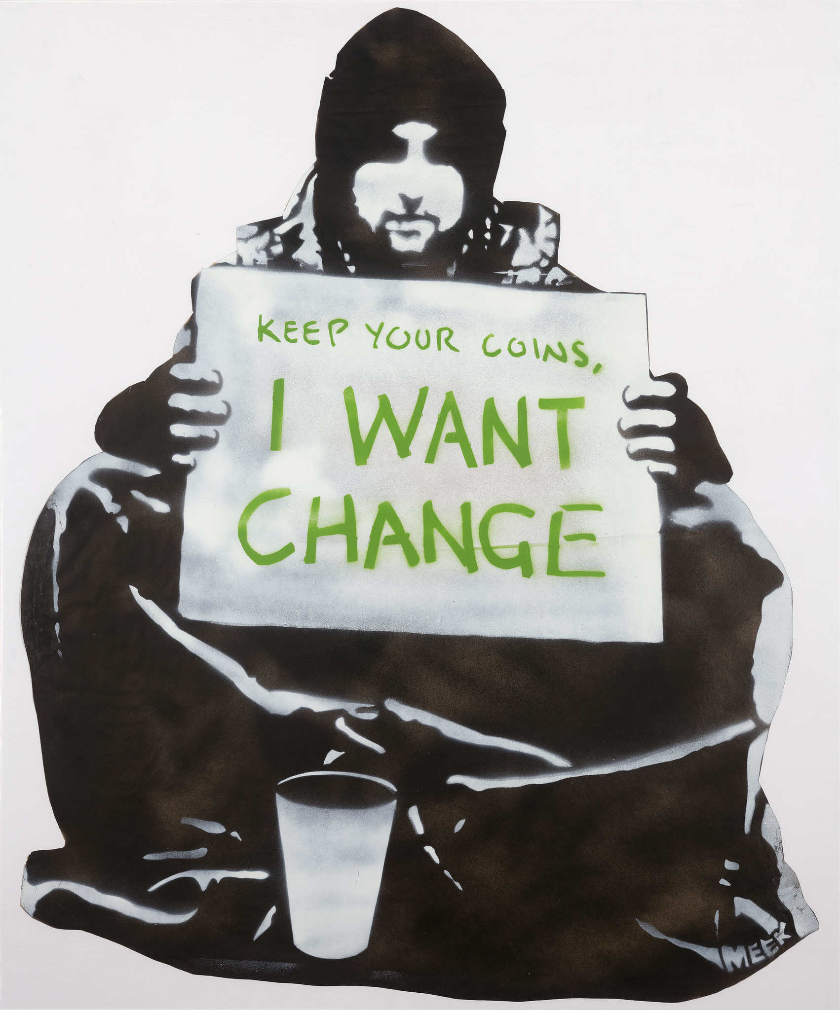 """Begging for Change,"" Meek, stencil, 2004, Melbourne, Australia."