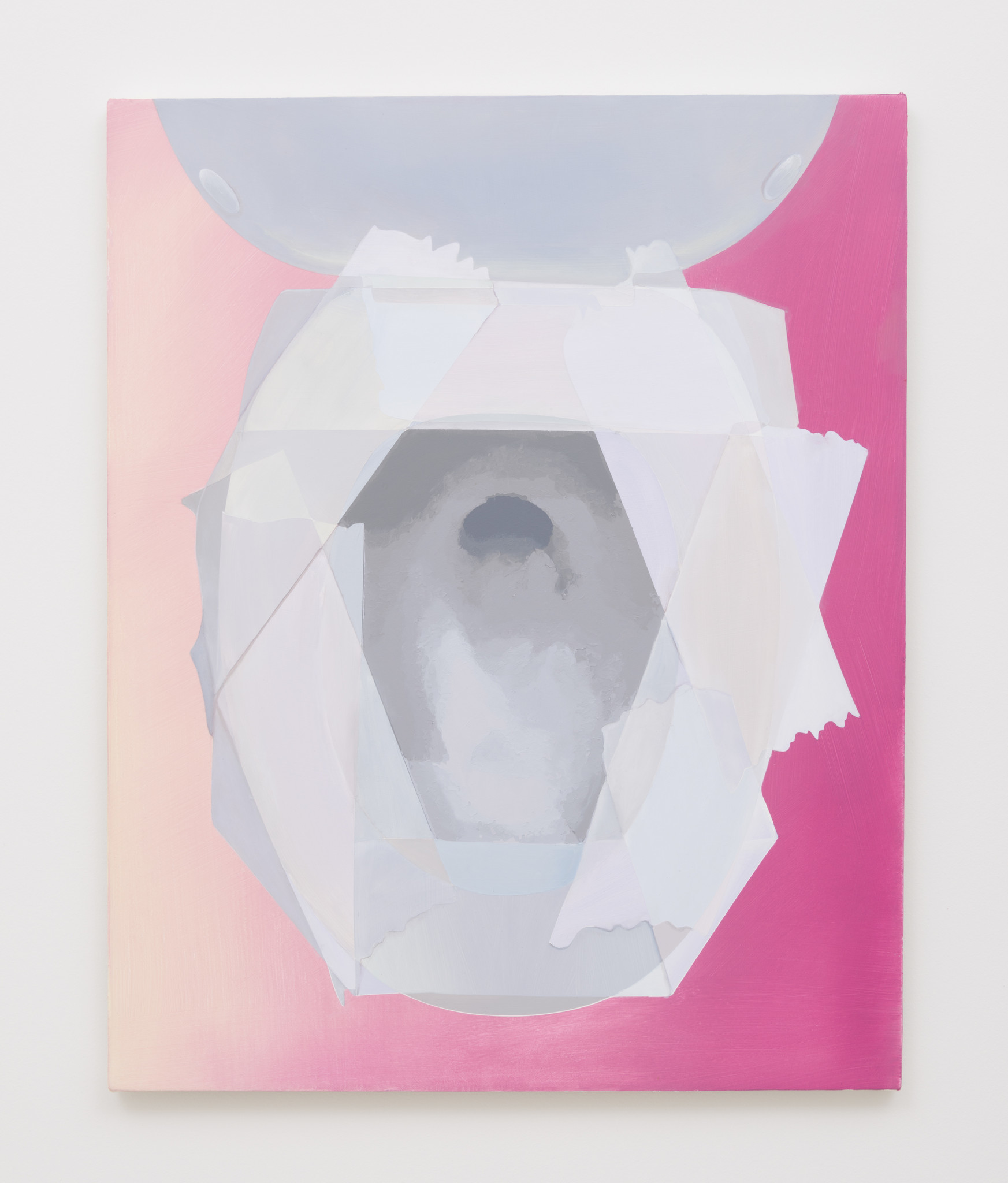 """Joel Holmberg, """"Toilet With Toilet Paper Barrier, No. 11,"""" 2017, acrylic on canvas"""