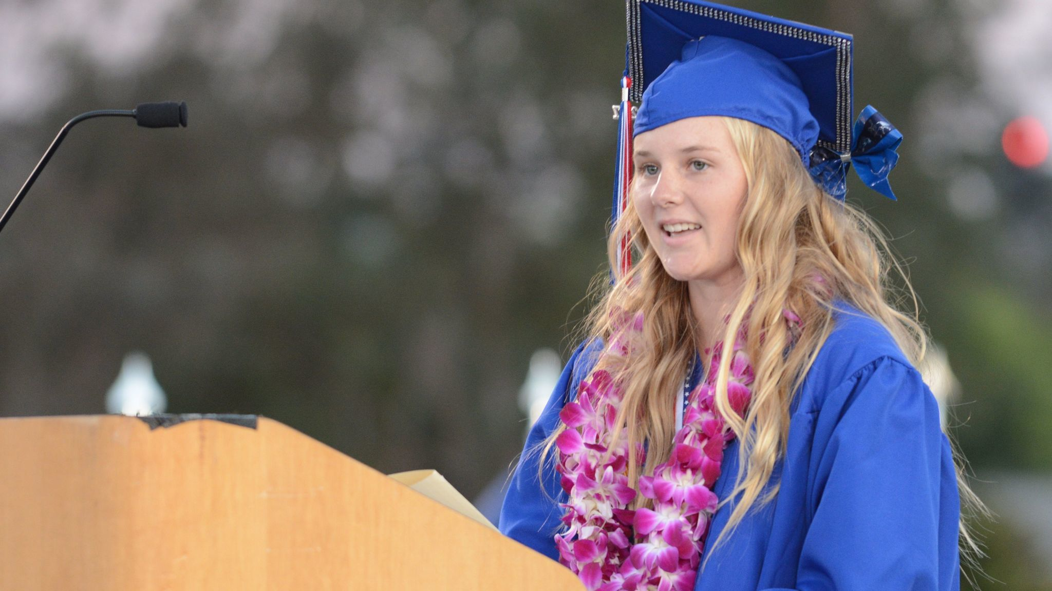 Valedictorian Kaley Sapper tells classmates to enjoy their time in the spotlight.