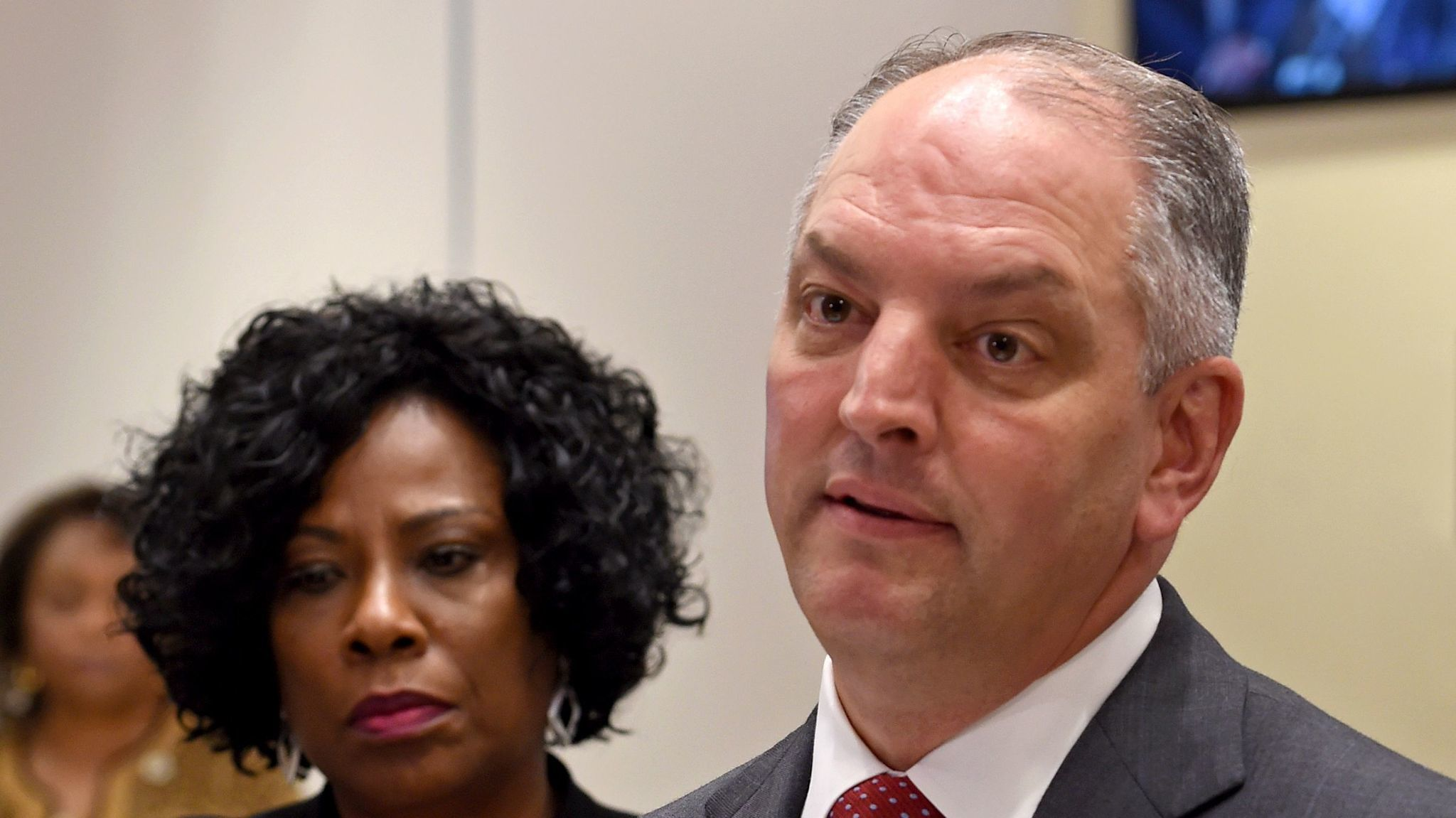 Louisiana Gov. John Bel Edwards with Baton Rouge Mayor Sharon Weston Broome last month.