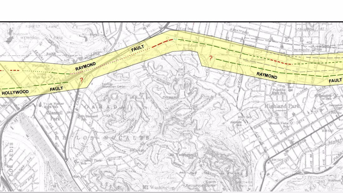 The Raymond fault runs through Glassell Park, under the 2 Freeway and Eagle Rock Boulevard, and parallels York Boulevard through Highland Park for a stretch.