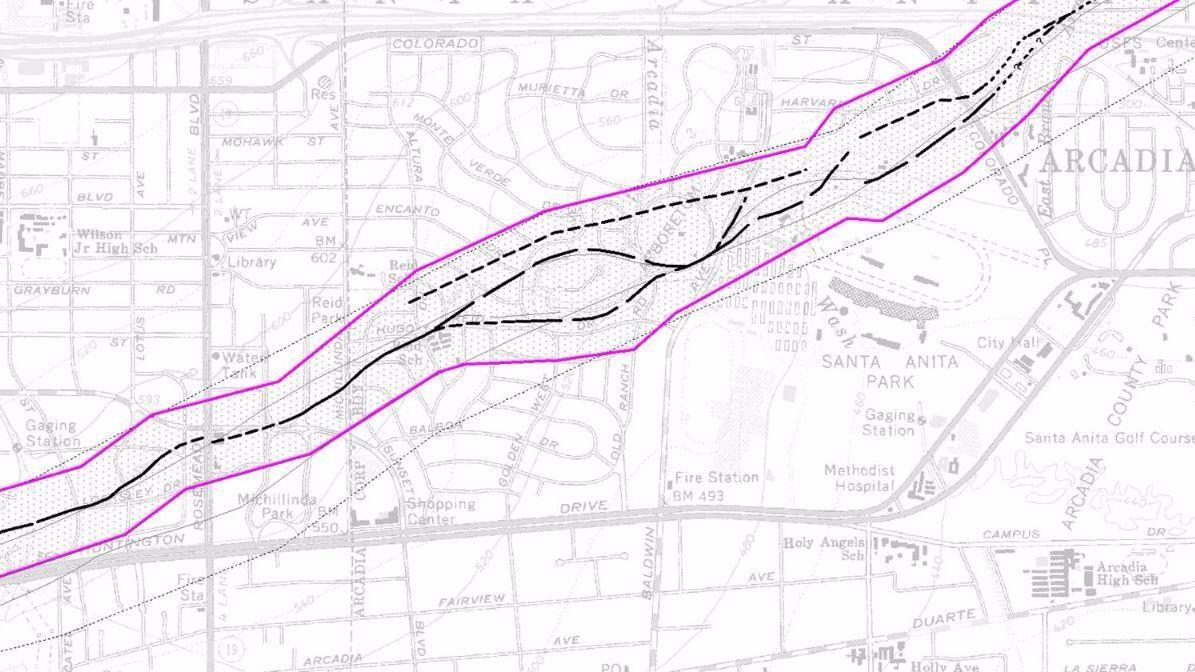The Raymond fault crosses the Los Angeles County Arboretum in Arcadia.