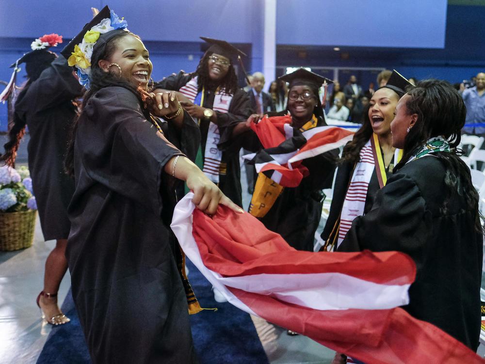 Graduates celebrate during the Black Graduation ceremony at UC Riverside.