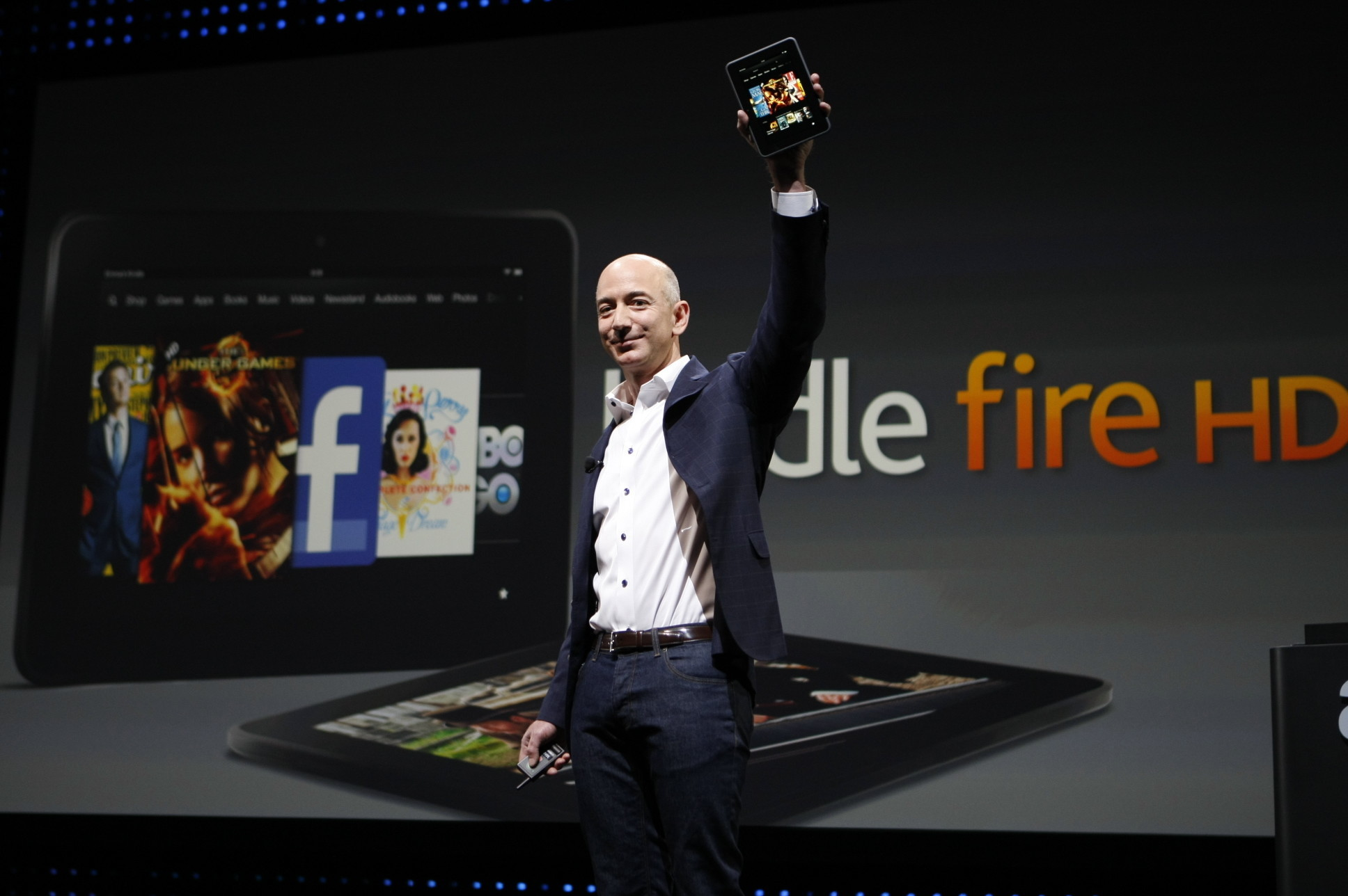 Amazon CEO Jeff Bezos unveils the Kindle Fire HD in 2012.