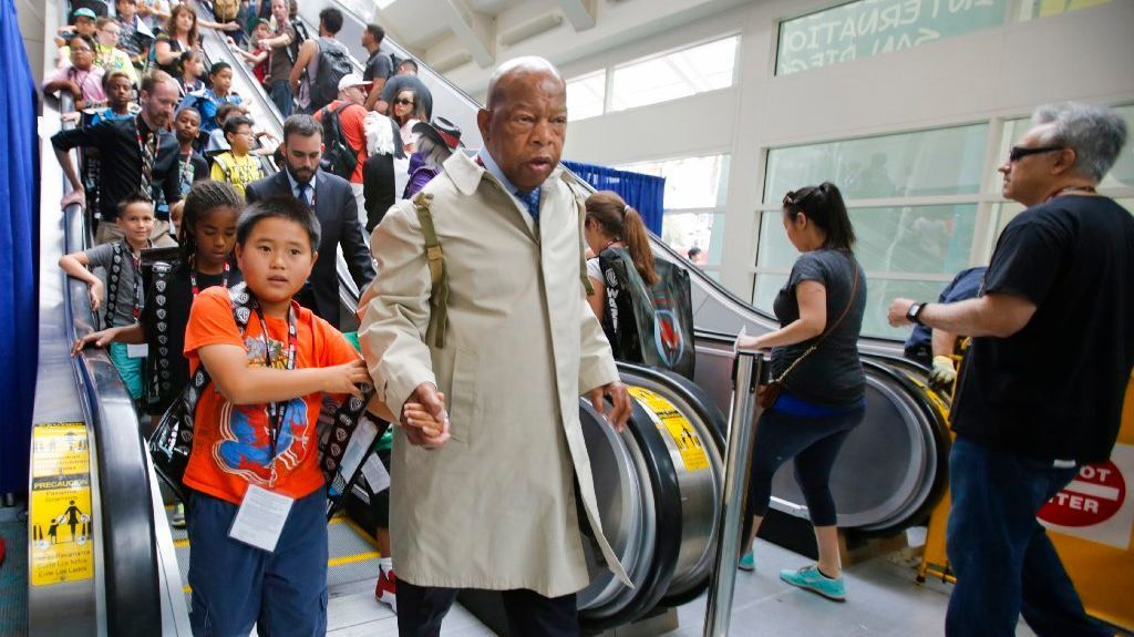 Congressman John Lewis lead a re-enactment during Comic-Con to call attention to the graphic novel, March: Book Three, his story of the 1965 march from Selma, to Montgomery, Alabama.