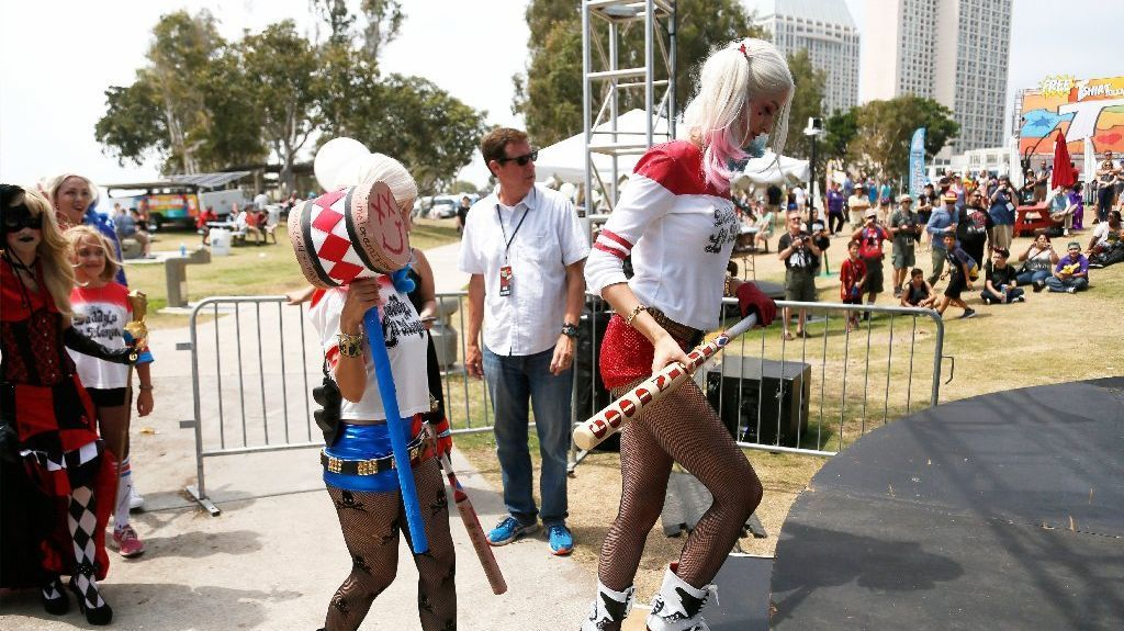 Contestants take the stage to competes in a Harley Quinn costume contest in Con-X, at Embarcadero Marina Park North during San Diego Comic-Con 2016. #sdcc2016