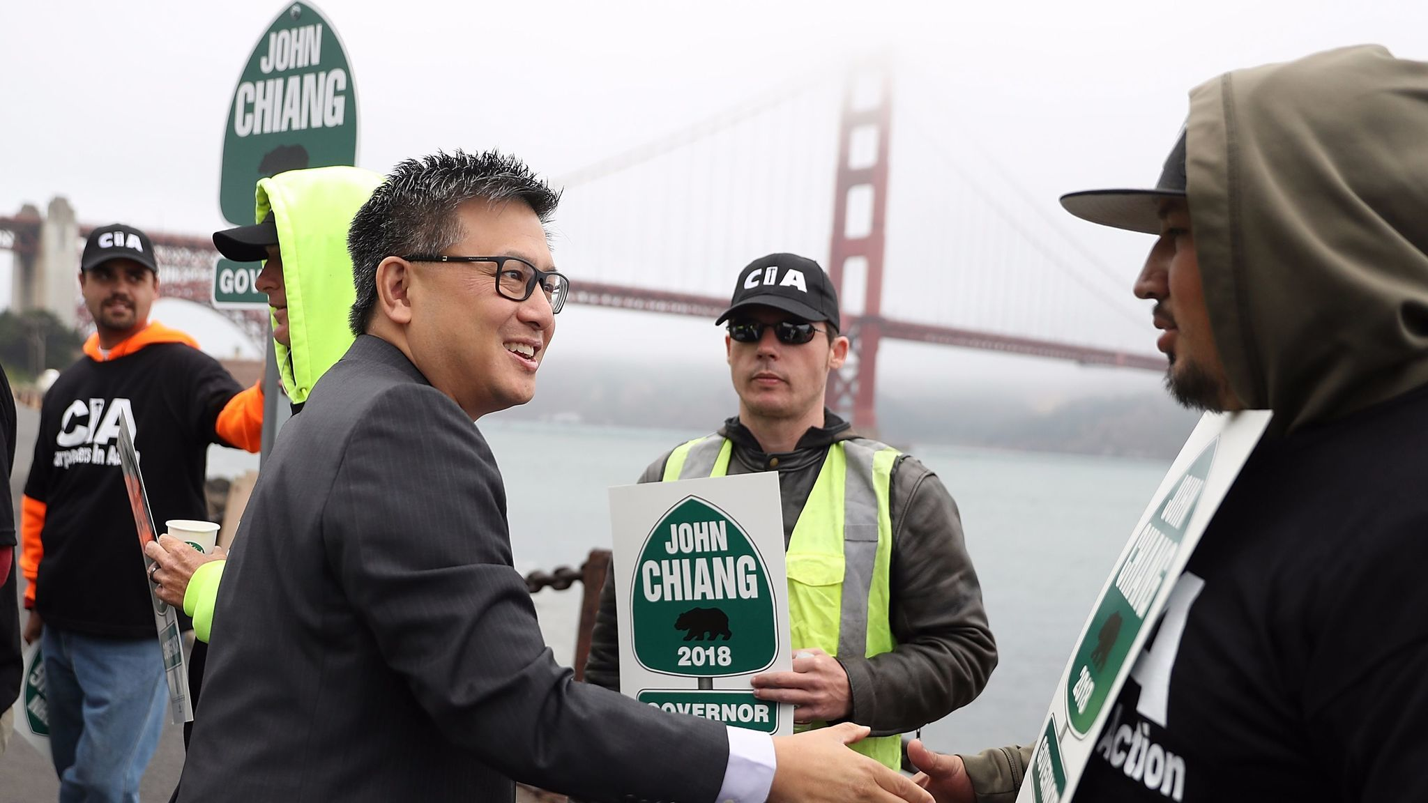 State Treasurer John Chiang, campaigning for governor near the Golden Gate Bridge on June 7, has promoted his environmental record during his eight years on the State Lands Commission as state controller.