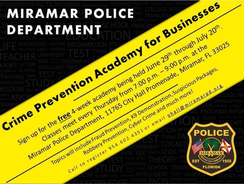 Crime prevention academy offered to Miramar business owners