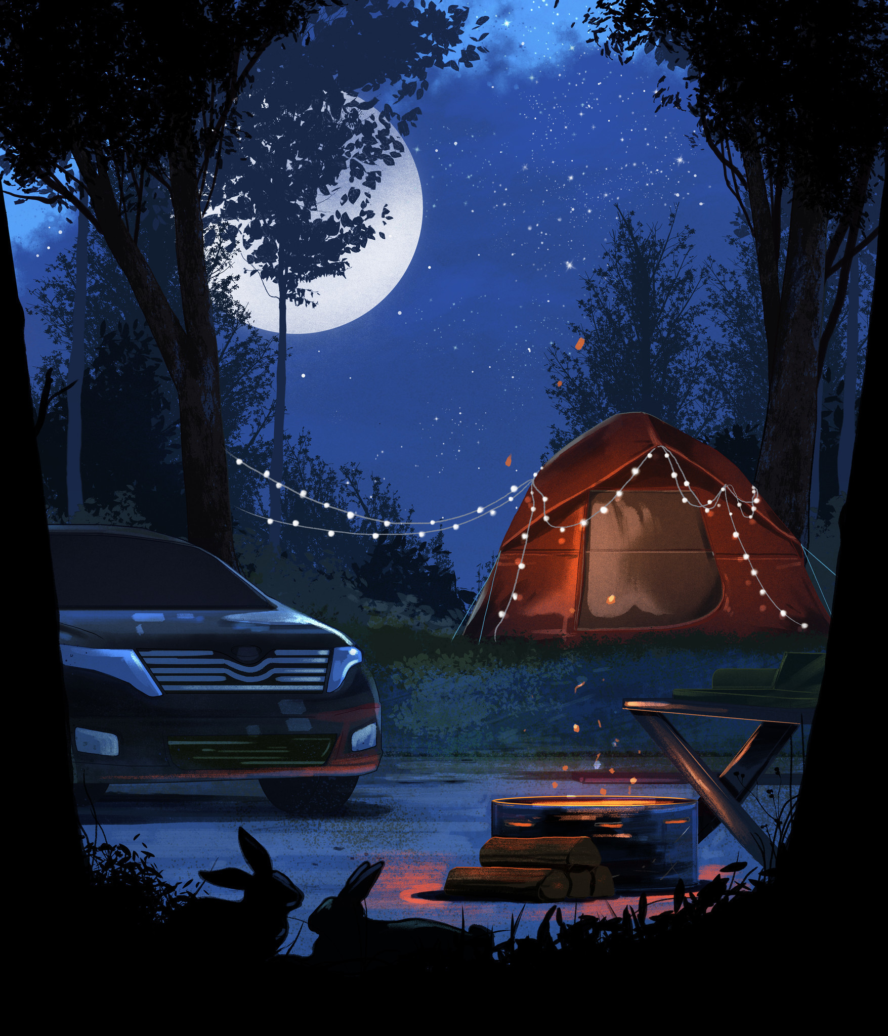 Illustration for a Travel section story on camping for newbies.