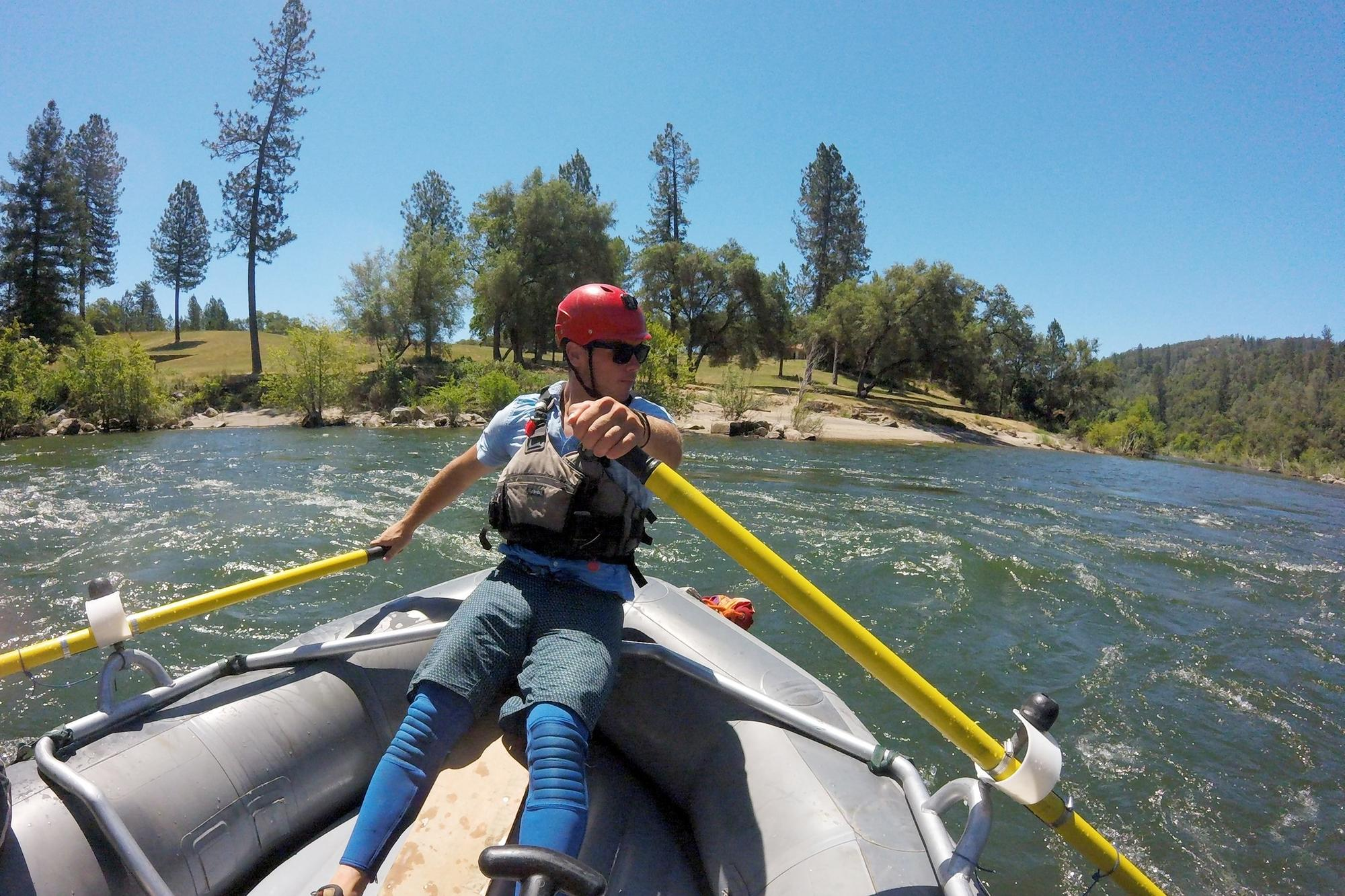 Guide Kyle Brazil navigates the South Fork of the American River near Coloma, Calif..