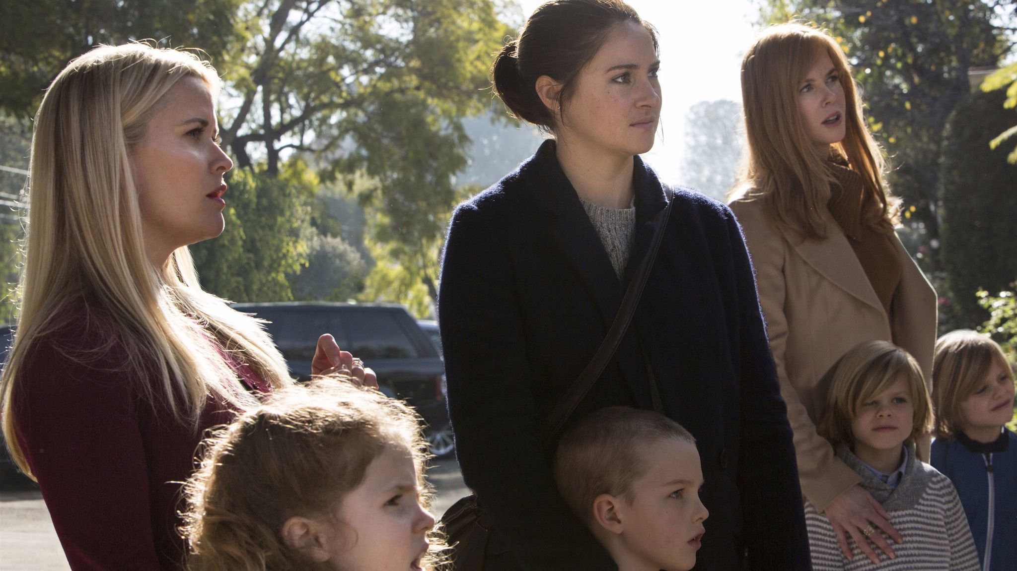 Reese Witherspoon, Darby Camp, Shailene Woodley, Iain Armitage, Nicole Kidman, Cameron Crovetti, Nicolas Crovetti in a scene from HBO's