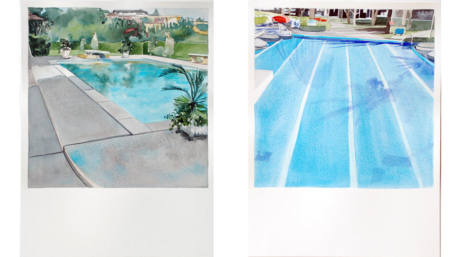 "Paintings from Amy Park's new series at Kopeikin Gallery, inspired by Ed Ruscha's art book ""Nine Swimming Pools (and a Broken Glass)."""
