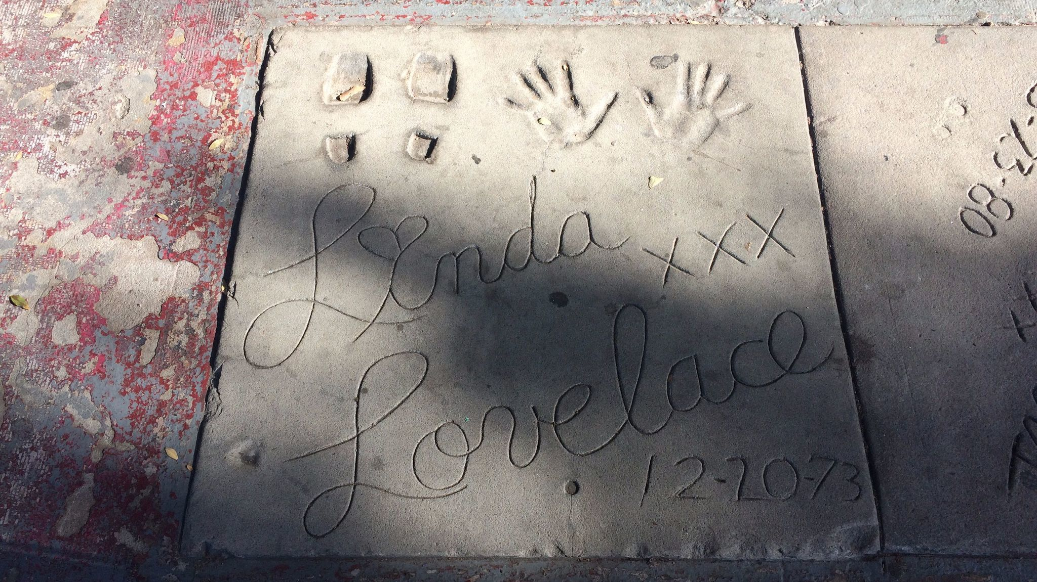 There is a small porn walk of fame before the Studs theater, which features foot and handprints by the like of '70s adults stars like Linda Lovelace.