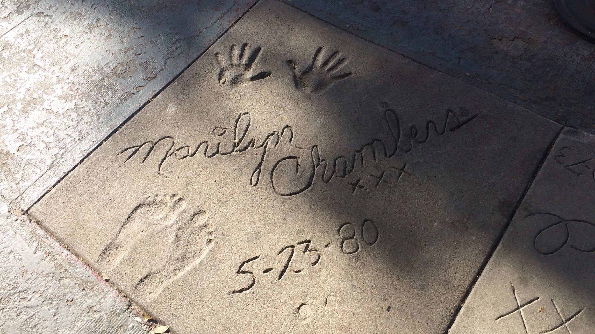 "The feet and handprints for porn star Marilyn Chambers, who starred in ""Behind the Green Door,"" outside the Studs theater in West Hollywood."