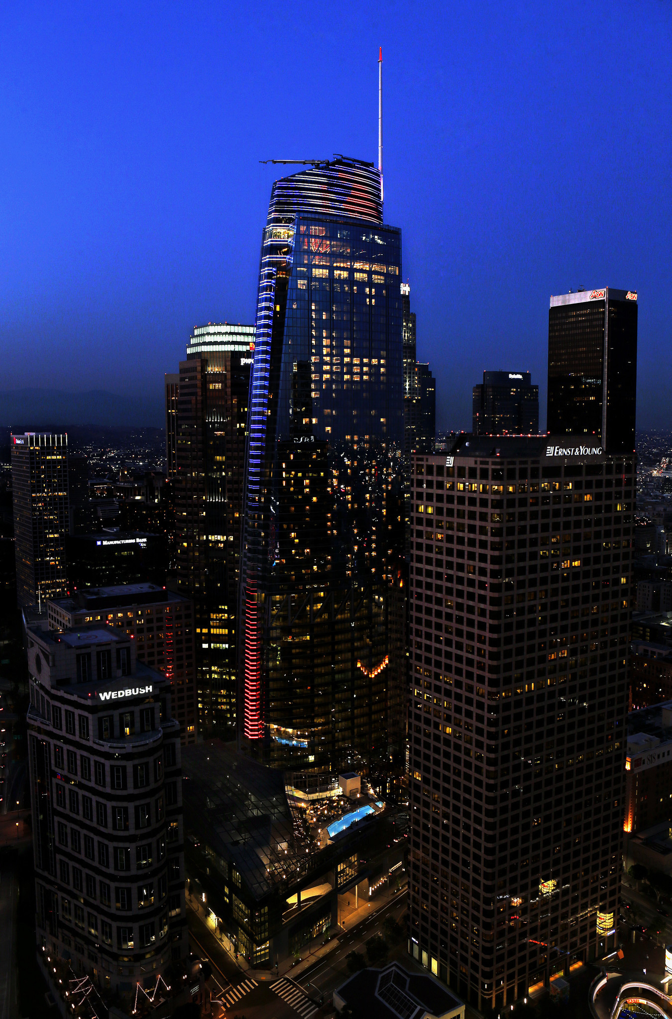 The Wilshire Grand has roughly 2.5 miles of LEDs running up and down its spine.