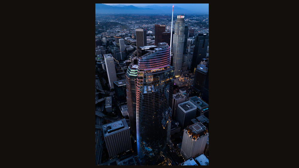 The Wilshire Grand, at 1,100 feet high, including the spire, is the tallest building west of the Mississippi.