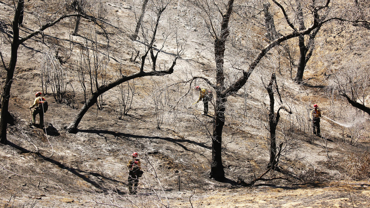 Laboring under triple-digit temperatures, firefighters from Bear Divide Hotshots keep embers in check on scorched hills in the Placerita Canyon area of Santa Clarita.