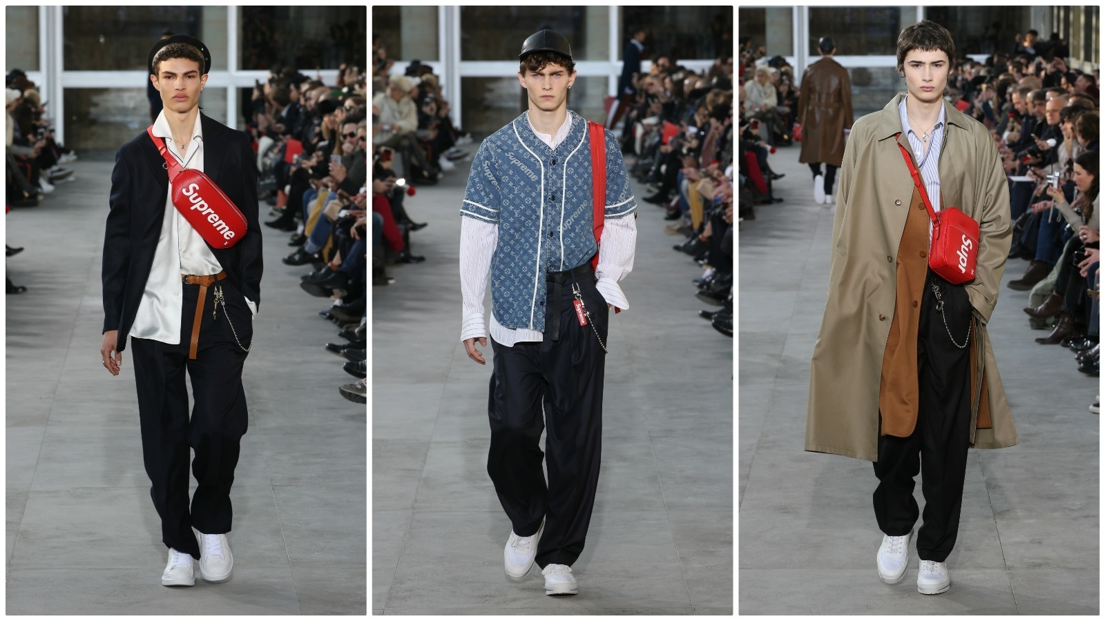 Pieces from Louis Vuitton's capsule collection with Supreme appear on the Paris runway in January.