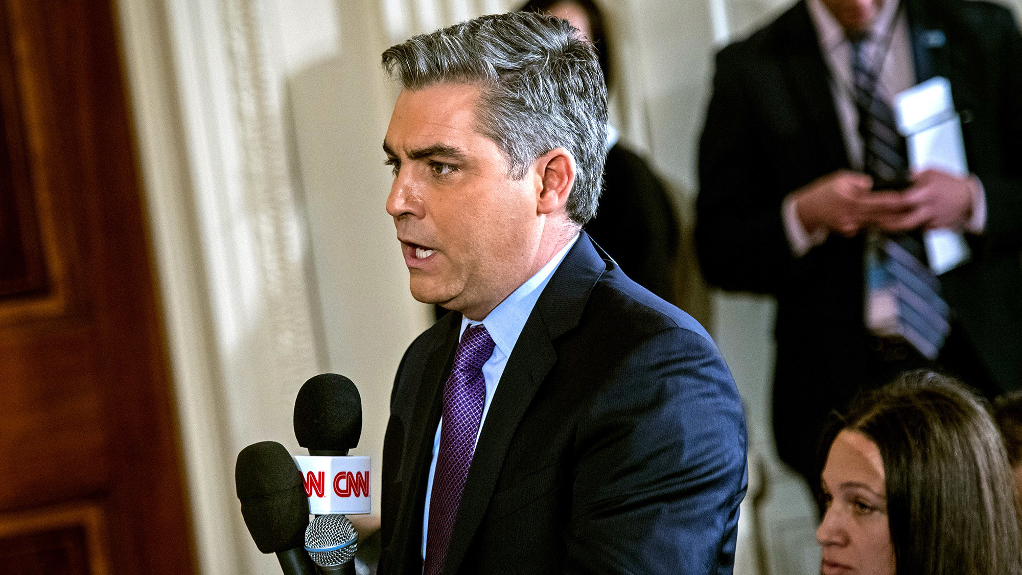 Jim Acosta of CNN asks President Donald Trump a question during a press conference in the East Room of the White House on Thurs., Feb. 16, 2017.