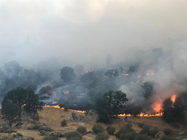 The Highway Fire in Sequoia National Forest burns June 18. The fire is 1,500 acres and 100% contained though it's still active.